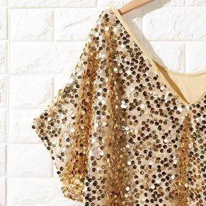 NWT Salora Off Shoulder Gold Sequin Blouse Top